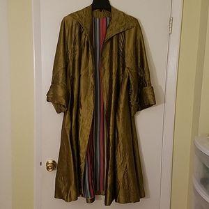 Handmade Gold Retro-Style Vintage Long Jacket Sz M
